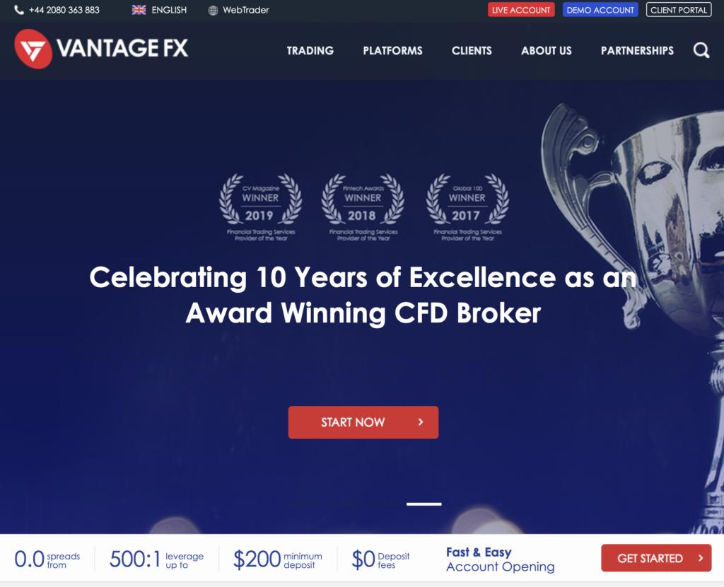 Vantage FX Website Screenshot