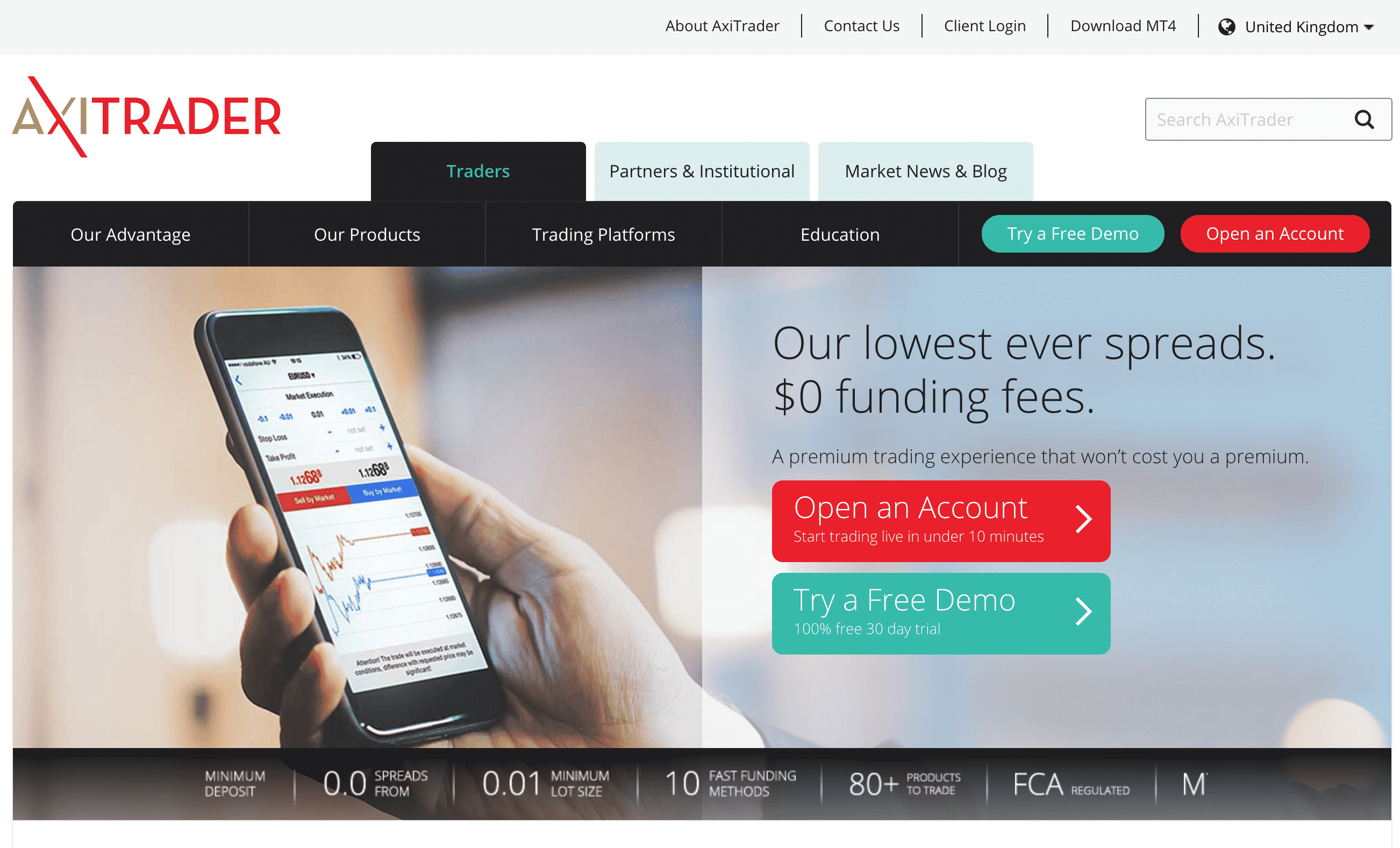 AxiTrader Website Screenshot