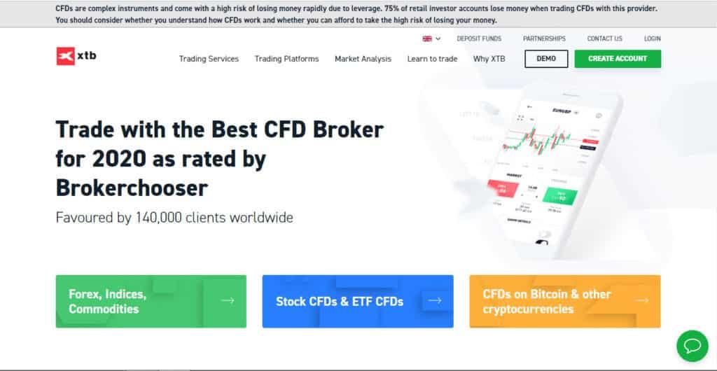 XTB Website Screenshot