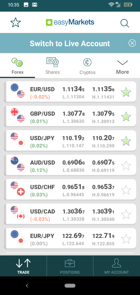 easyMarkets App Screenshot 1