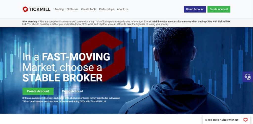 Tickmill website screenshot
