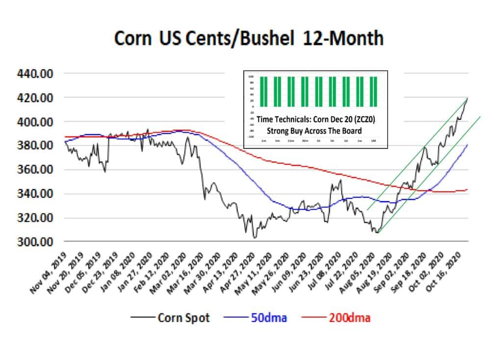 Figure1: Corn 12-Month Chart  and Time Technical Sentiment Source: www.investing.com, Spotlight Ideas