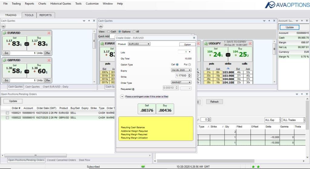 AvaTrade Options Trading Screenshot